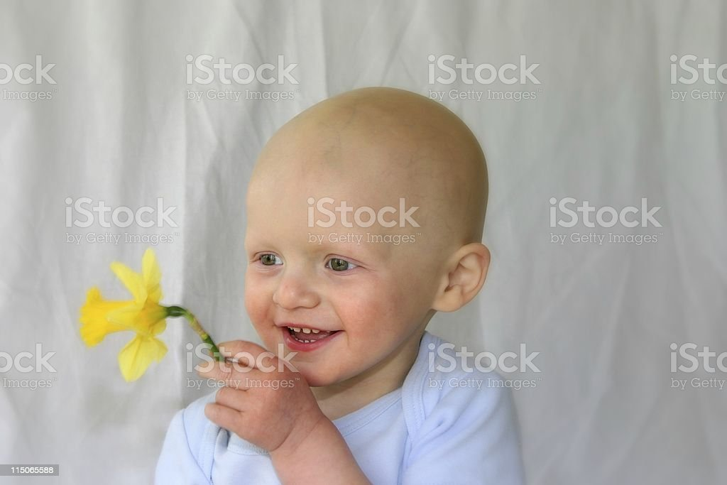 Cancer Kids; baby with daffodil royalty-free stock photo