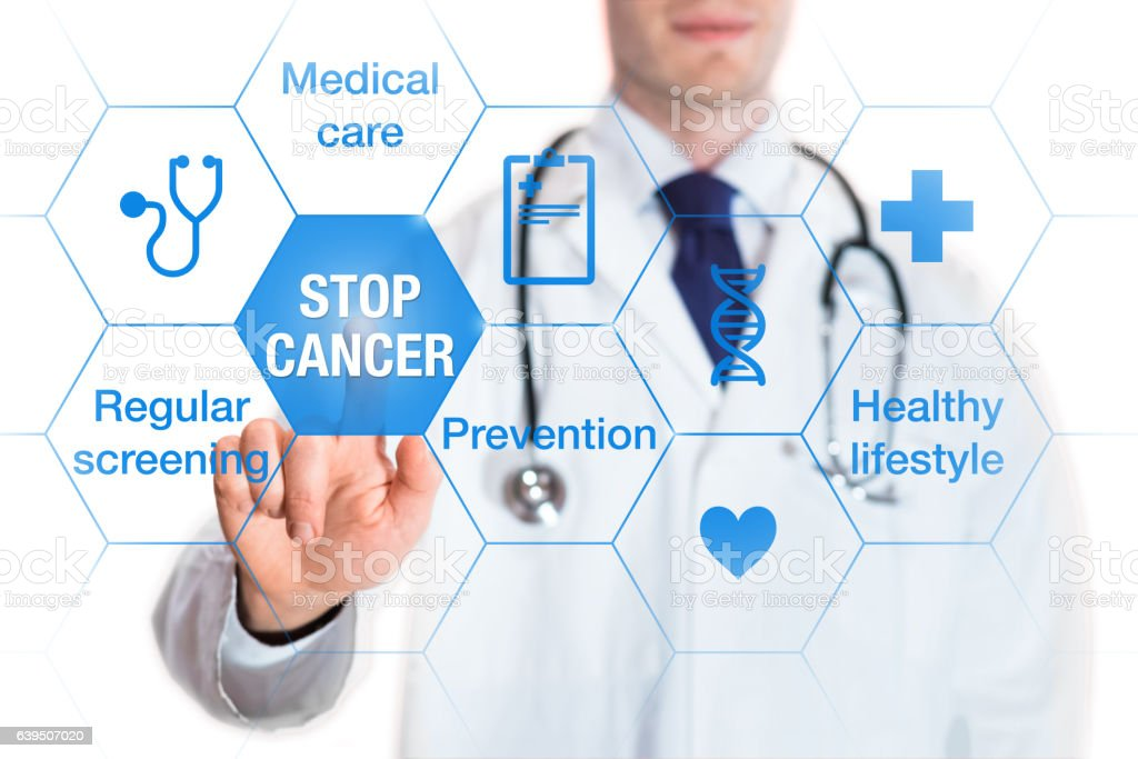 Cancer prevention and awareness concept, icons and words, medical doctor stock photo