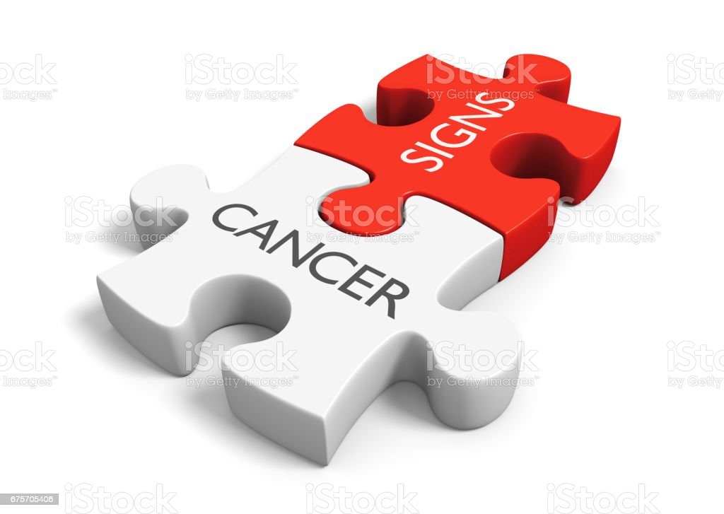 Cancer signs and symptoms concept with two linked puzzle pieces, 3D rendering royalty-free stock photo