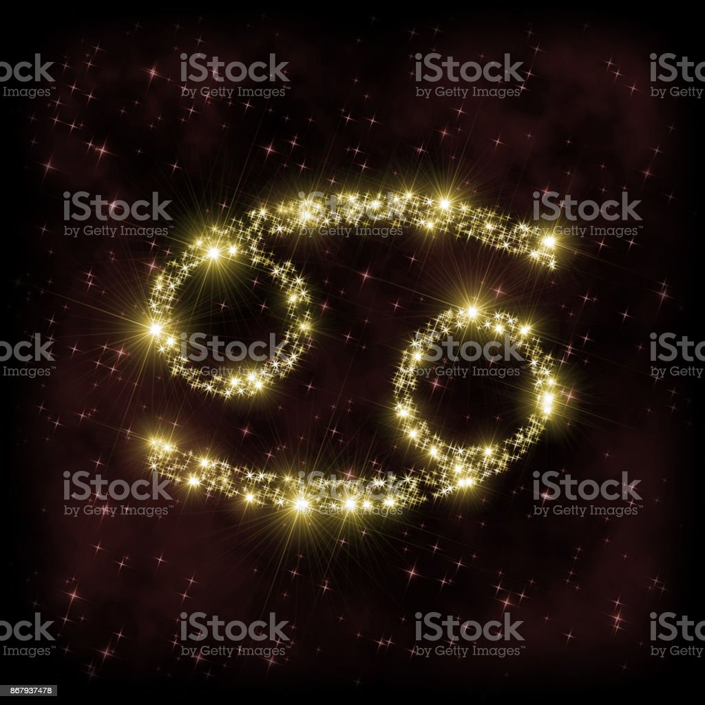 Cancer Zodiak sign - astronomy or astrology illustration in which symbol corresponding to constellation is made of twinkling sparkling yellow (golden) stars stock photo