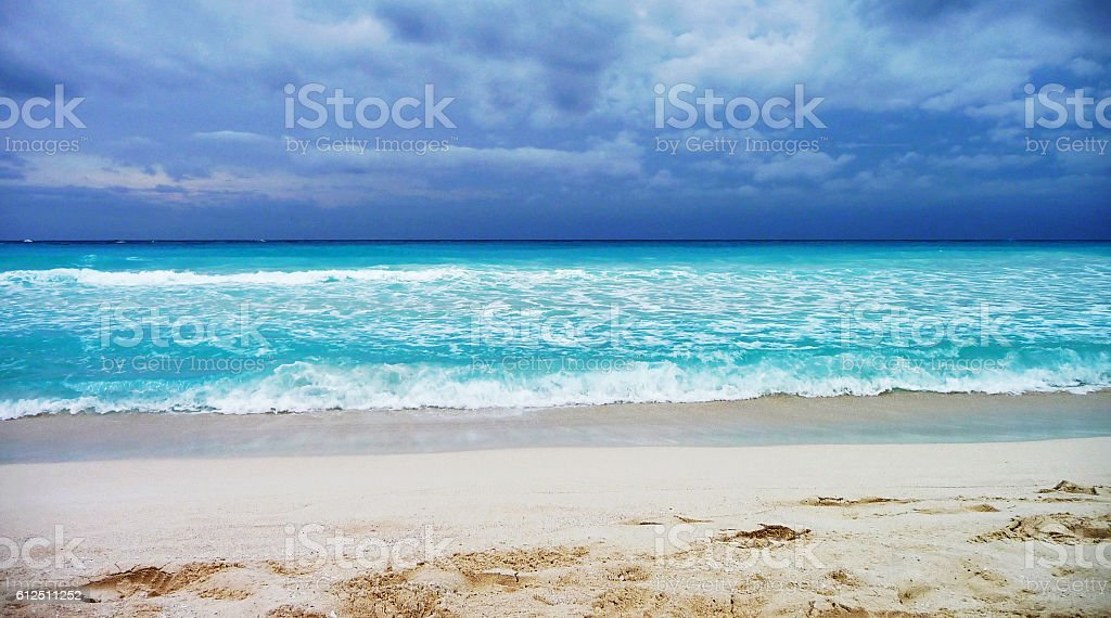 Cancún beach at stormy weather stock photo