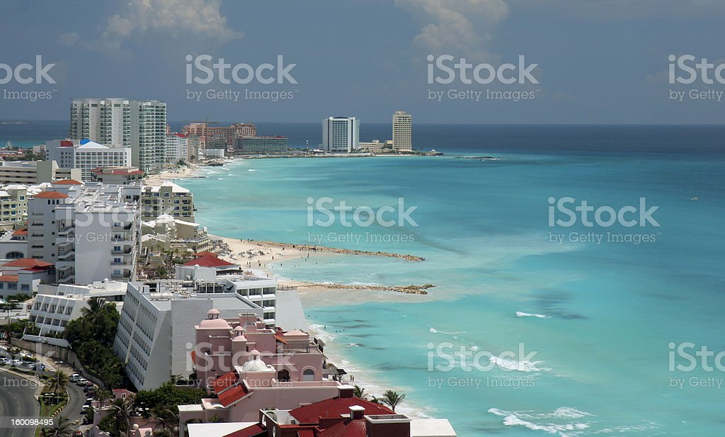 Cancun aerial beach view stock photo