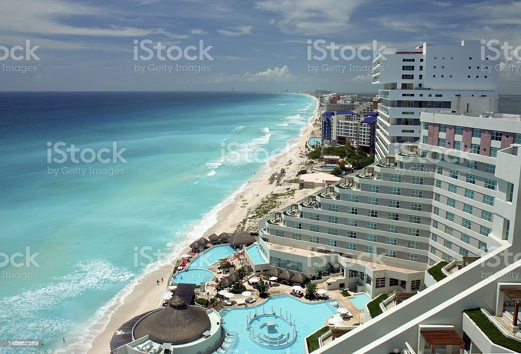 Cancun aerial view stock photo