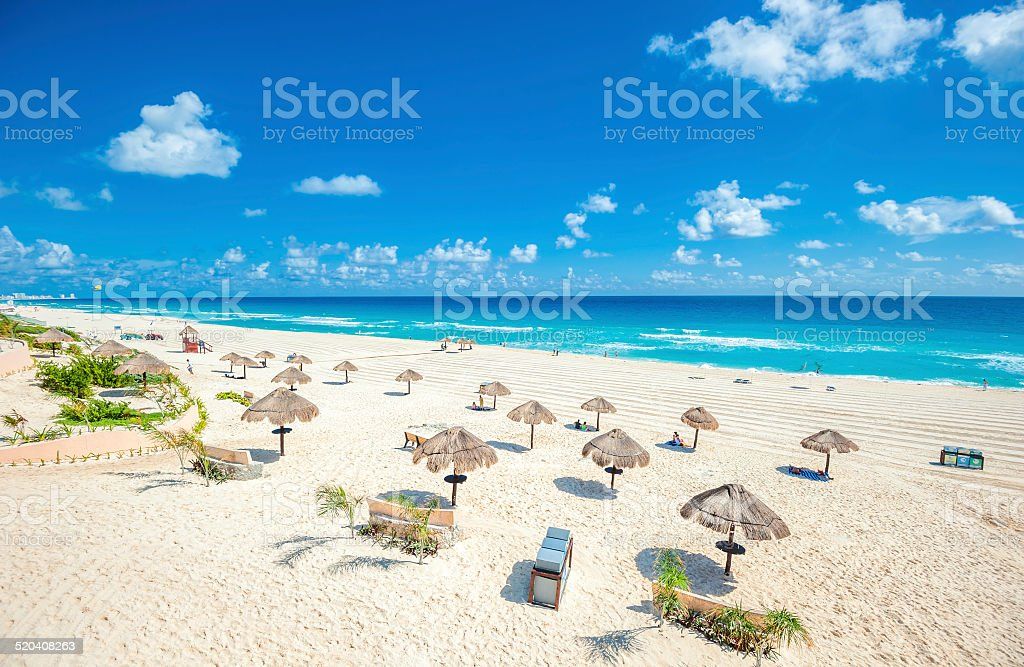 Cancun beach panorama, Mexico stock photo