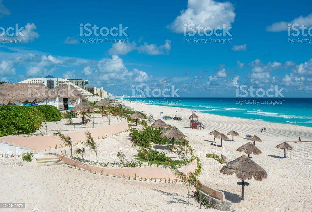 Cancun beach panorama, Mexico stock photo