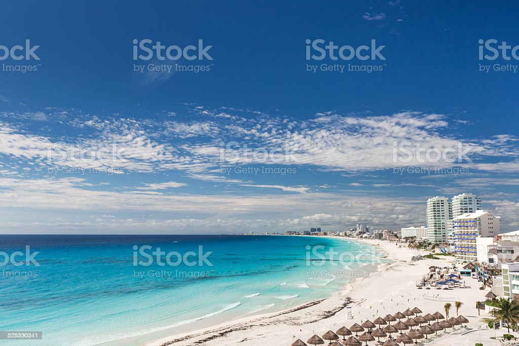 Cancun beach panorama view stock photo