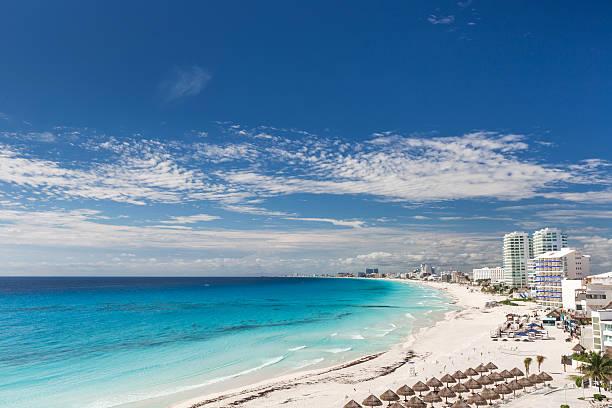 Cancun beach panorama view stock photo