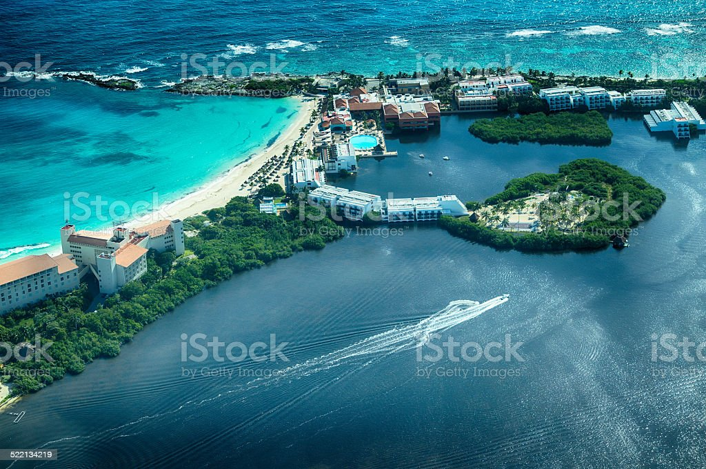 Cancun from bird's eye view (perspective) stock photo