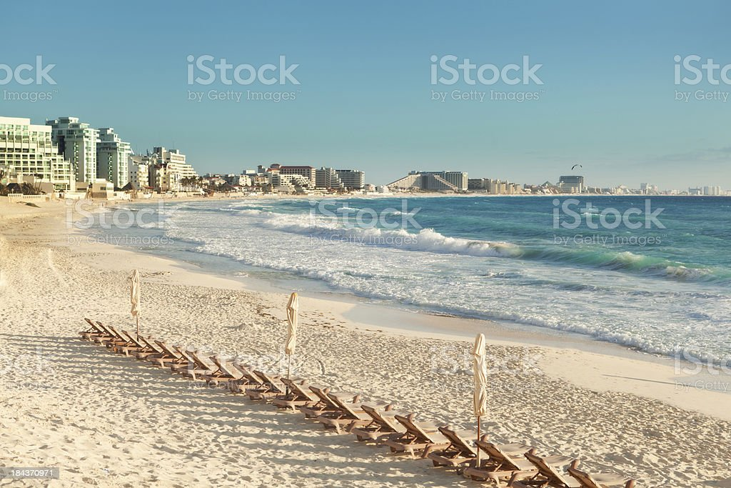 Cancun Hotel District and Beach Front in Yucatan Mexico stock photo