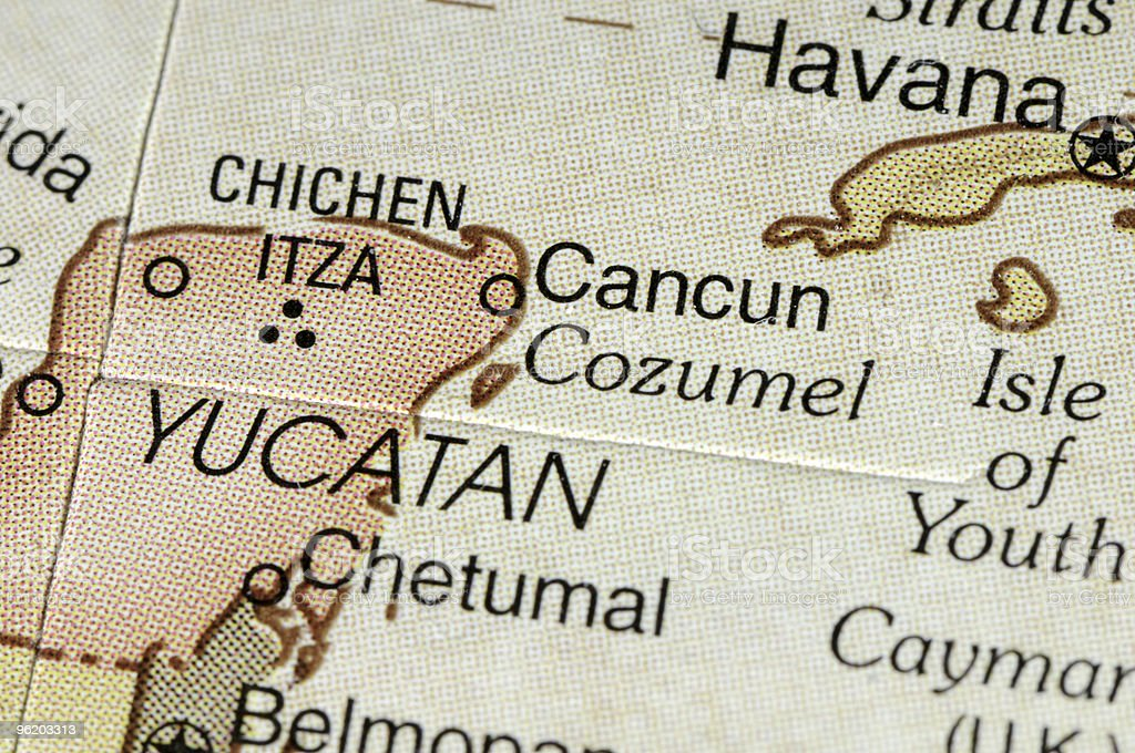Cancun Map royalty-free stock photo