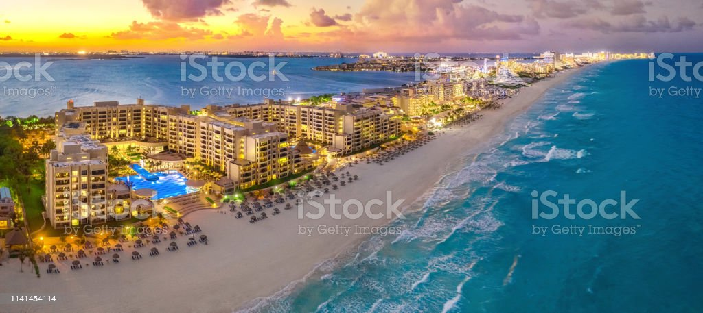 Cancun Resort During A Sunset Stock Photo Download Image