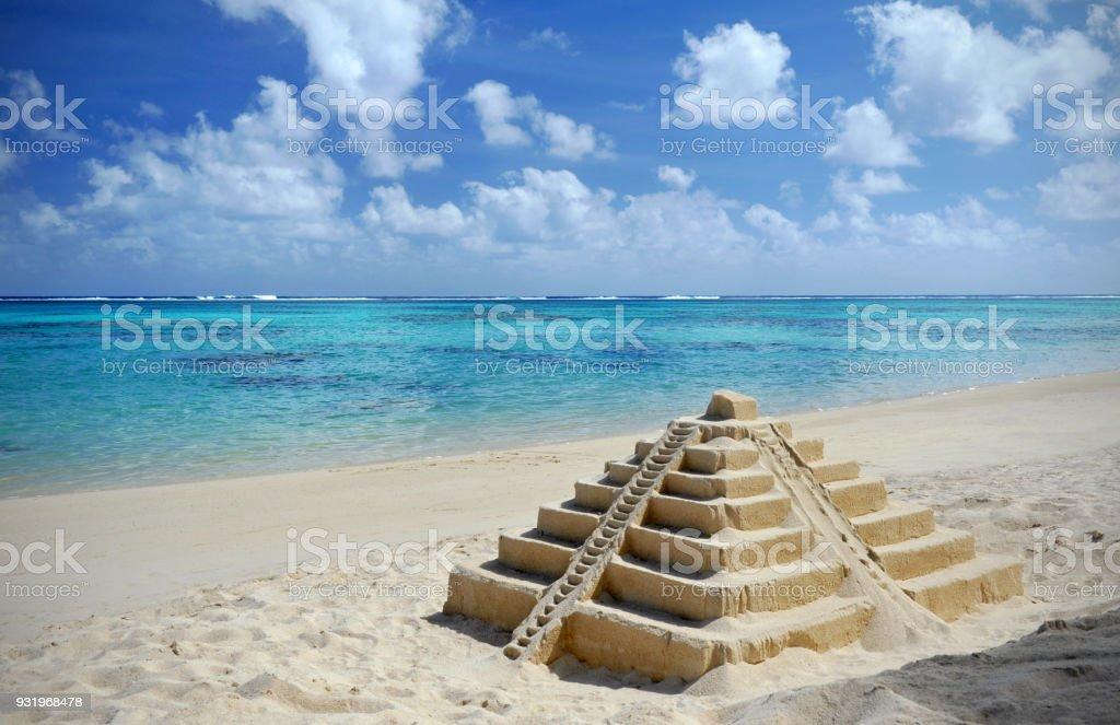Cancun sandcastle stock photo