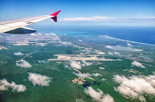 621114928 istock photo Cancun Viewed From the Plane 1003402680