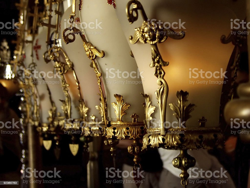 Candel lamps in Church of the Holy Sepulchre royalty-free stock photo