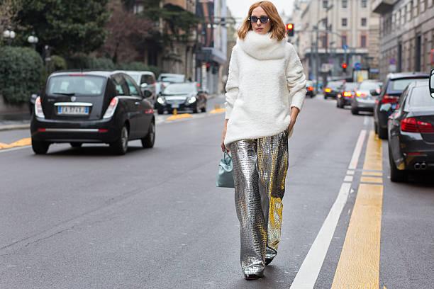 candela novembre before the blumarine fashion show - street style stockfoto's en -beelden