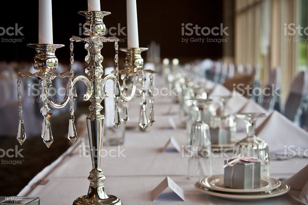 Candelabra at head table stock photo