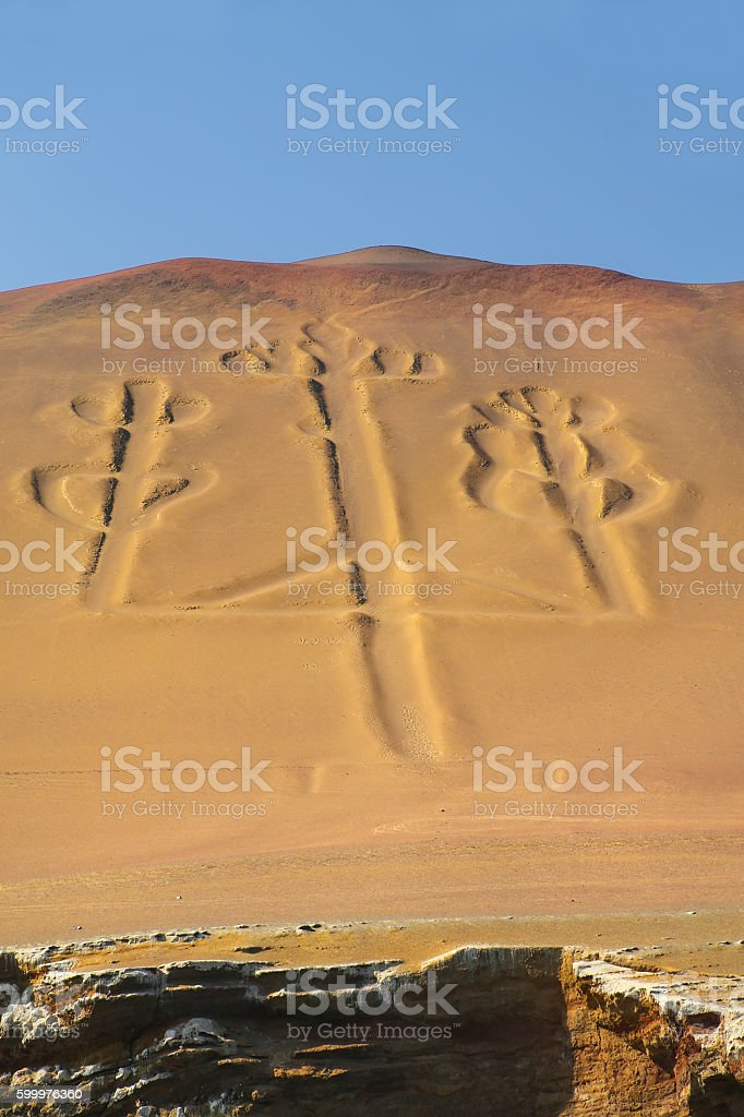 Candelabra of the Andes in Pisco Bay, Peru stock photo