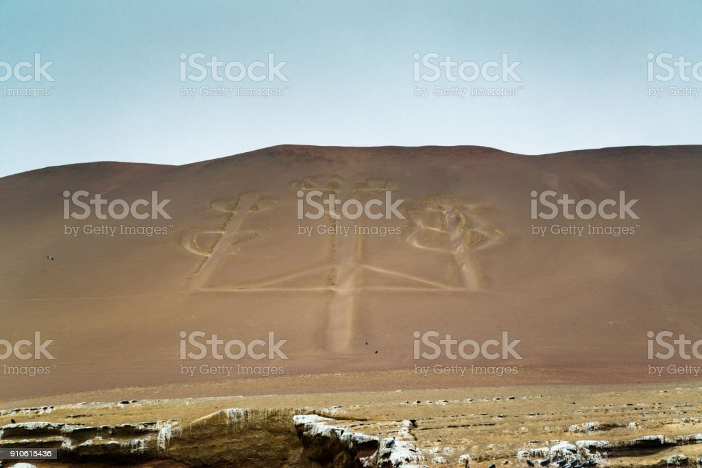 Candelabra of the Andes in Pisco stock photo