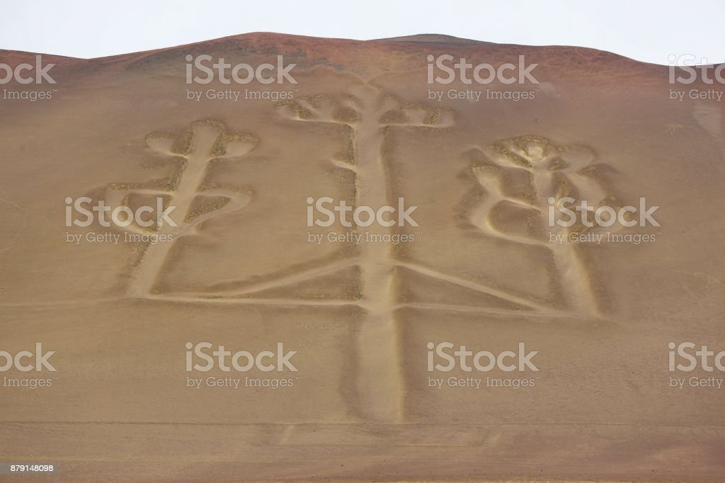 Candelabrum figure in Paracas national park, Peru stock photo
