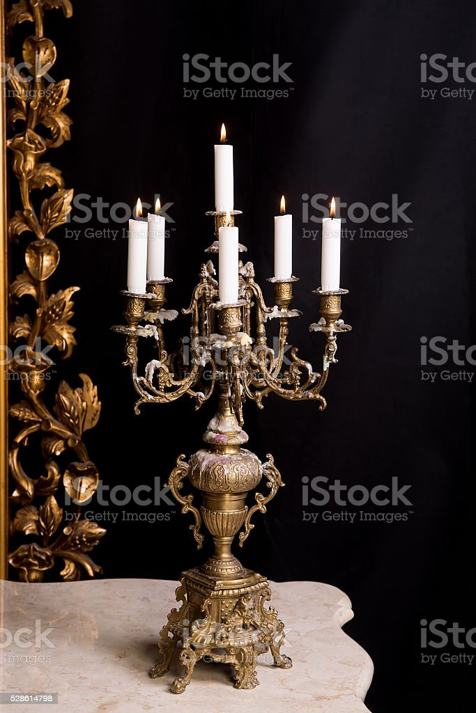 Candelabrum with candles, luxury retro style. stock photo