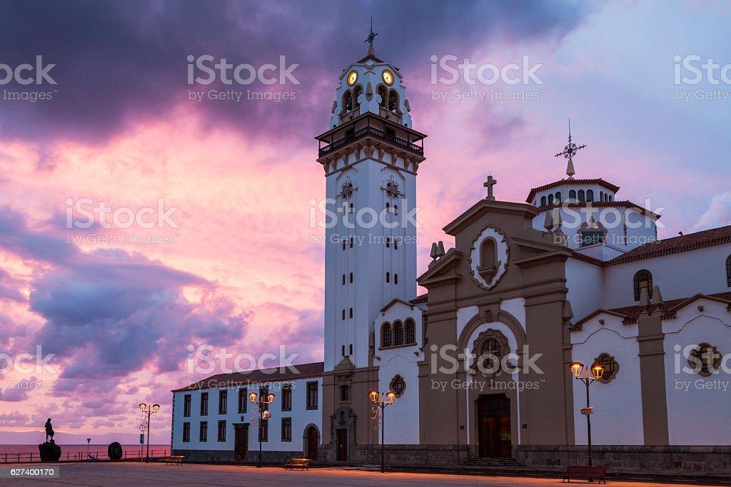 Candelaria Church at sunrise stock photo