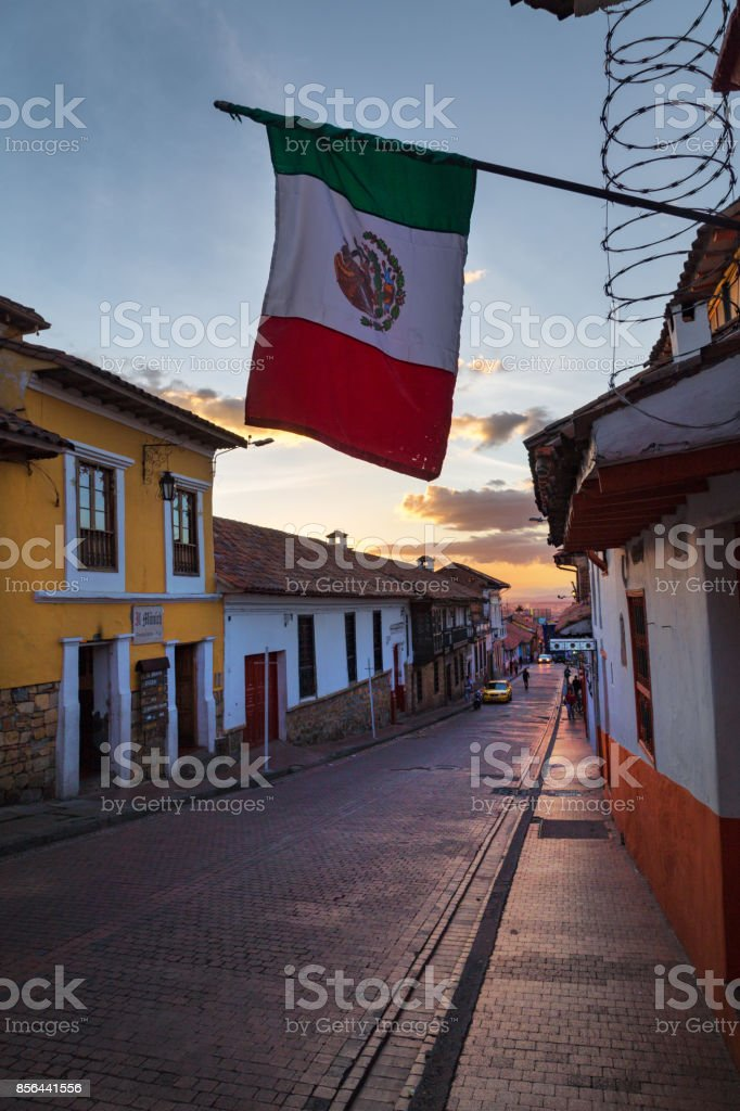 Candelaria Street in the evening with Mexican Flag stock photo