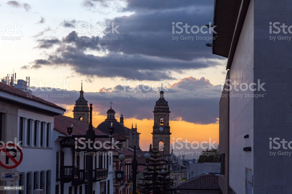 Candelaria Sunset with Cathedral stock photo