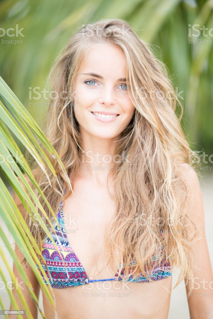 Candid Bikini Beauty Portrait at the Beach, Koh Phangan, Thailand - Stock  image .
