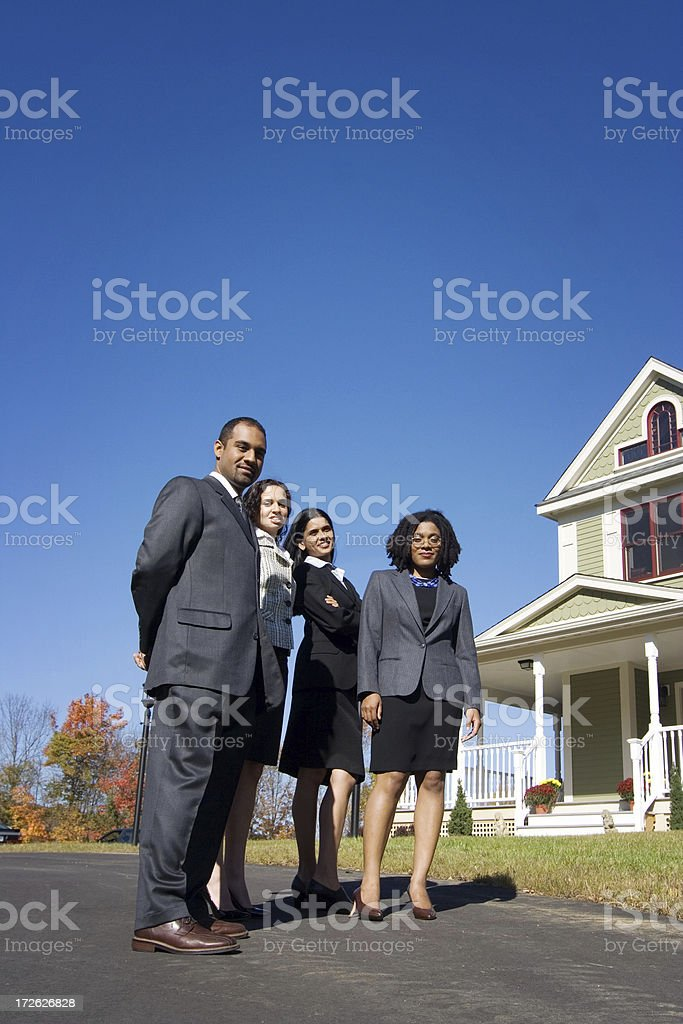 Candid business people outdoors royalty-free stock photo