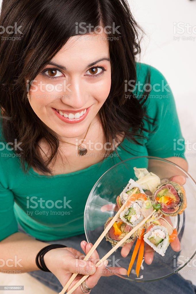 Candid Close Portrait Cute Brunette Woman Raw Food Sushi