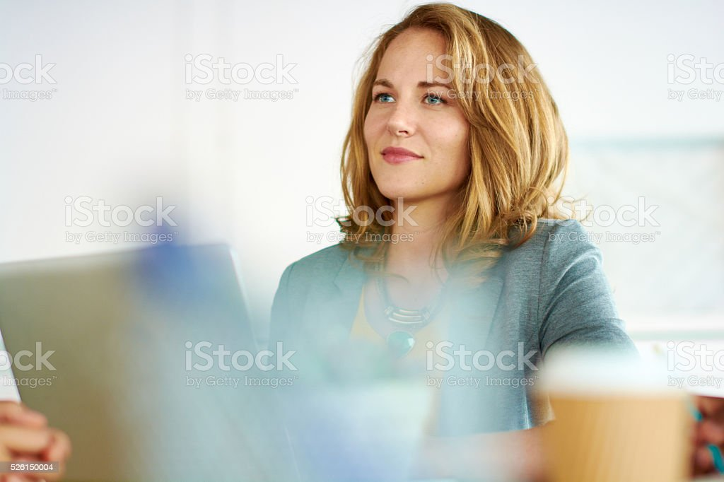 Candid image of succesful business woman caught in an animated stock photo