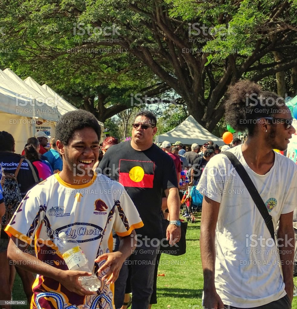 candid picture of Australian aboriginal men at NAIDOC Week celebrations in Townsville Australia stock photo