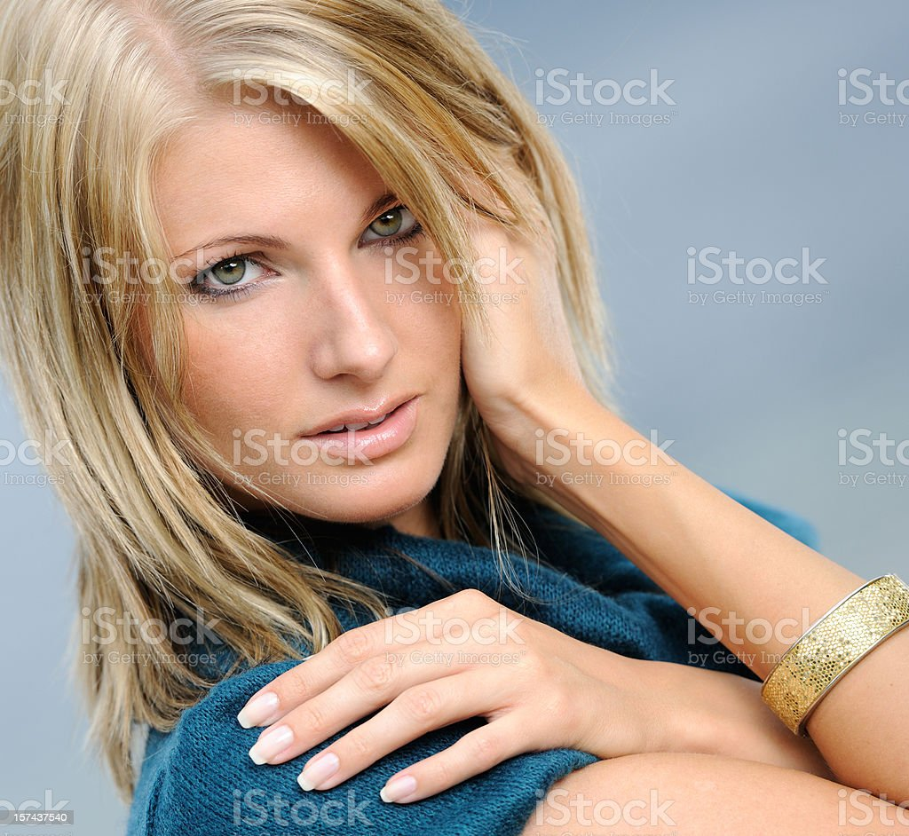 Candid Portrait of a Beautiful Natural Blond Woman (XXXL) royalty-free stock photo