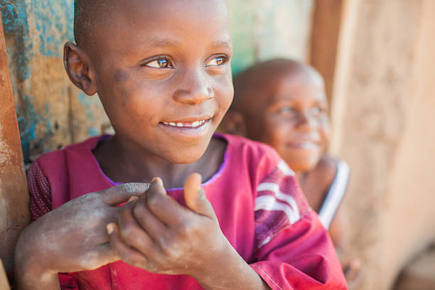 Candid Portrait of African Children stock photo