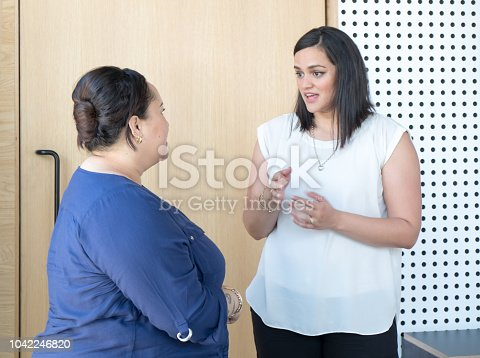 Candid portrait of business women having conversation in office meeting room. Females are of maori ethnicity in New Zealand, NZ.