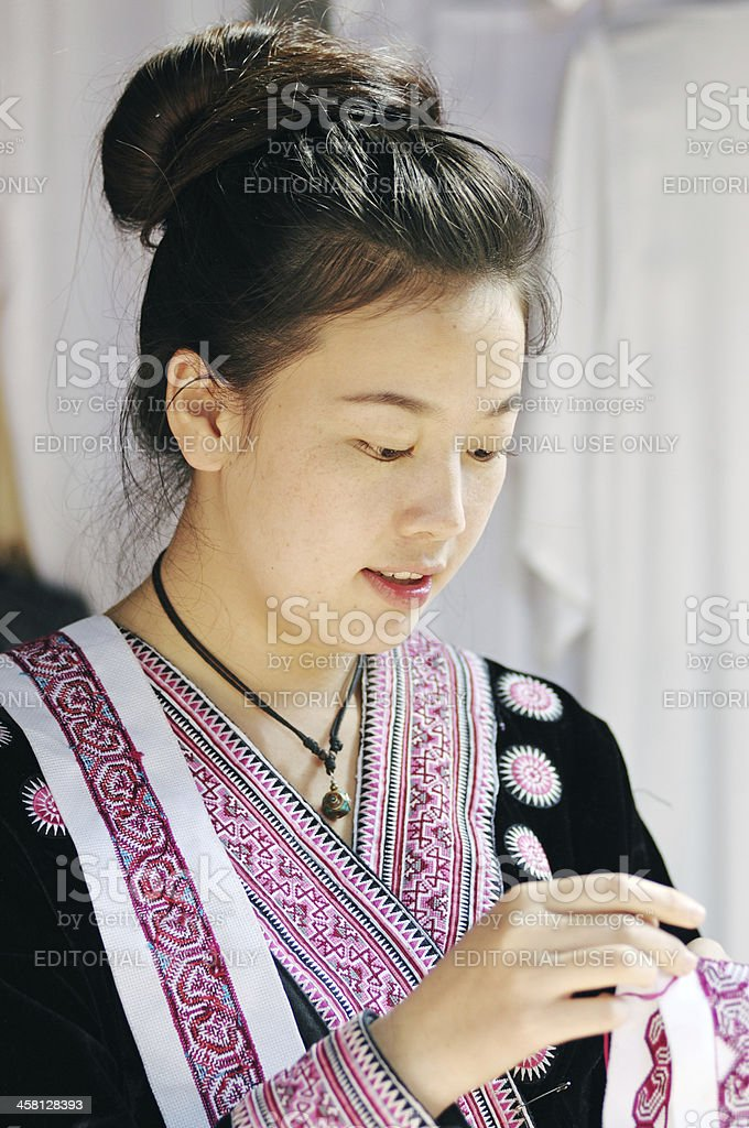 Candid portrait of  hill tribe young woman stock photo