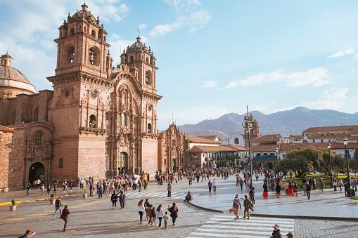 Candid Scene In Front Of The Iglesia De La Compañia De Jesús (Church of the Society of Jesus) In Cuzco, Peru