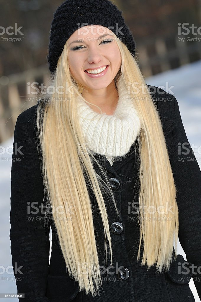Candid Winter Outdoor Portrait - Natural Long Blond Hair royalty-free stock photo