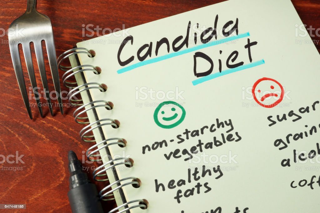 Candida diet with list of foods written on a note. stock photo