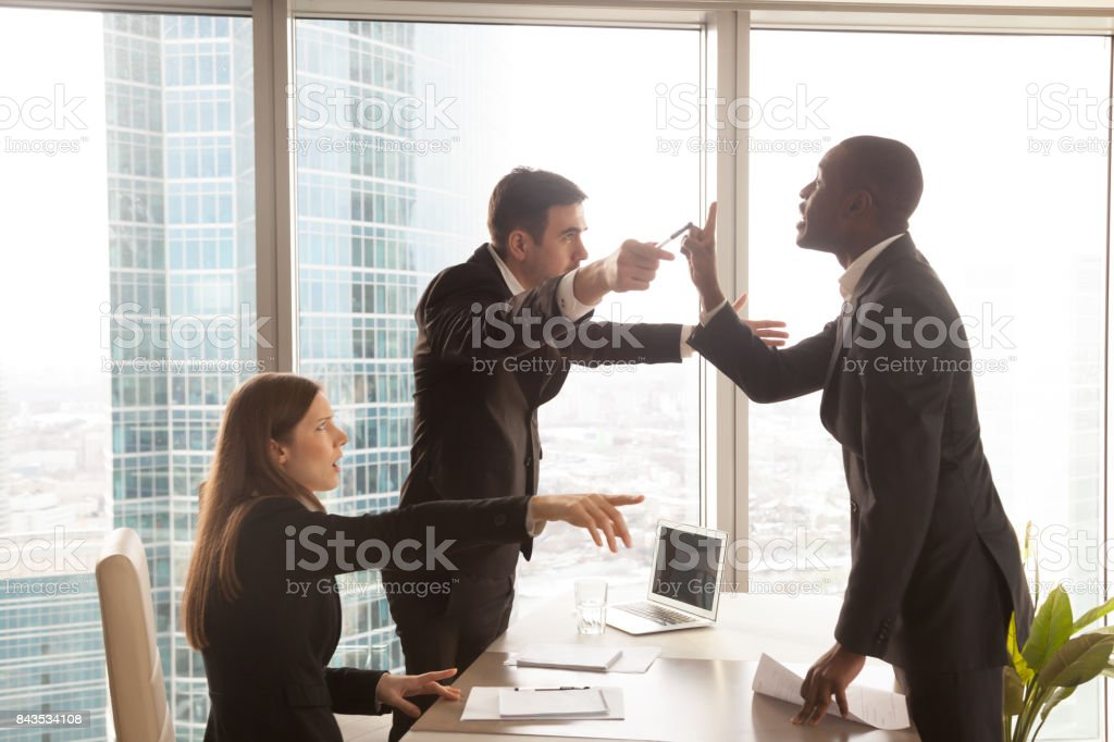 Candidate arguing with employer after interview stock photo