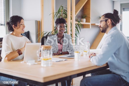 1090214584 istock photo Candidate is having a conversation at a job interview 1036754056