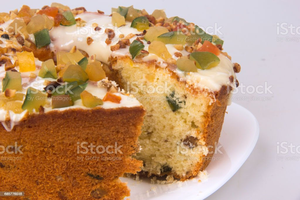 Candied fruit cake. Traditional dessert at parties. royalty-free stock photo
