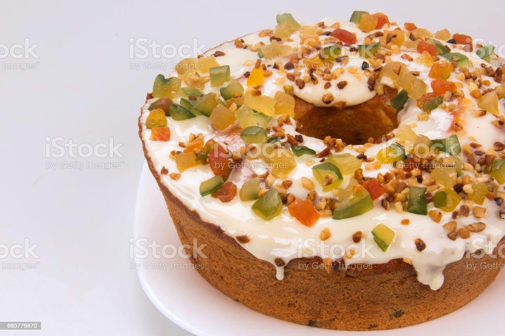 蜜餞的水果蛋糕。在各方的傳統甜點。 免版稅 stock photo