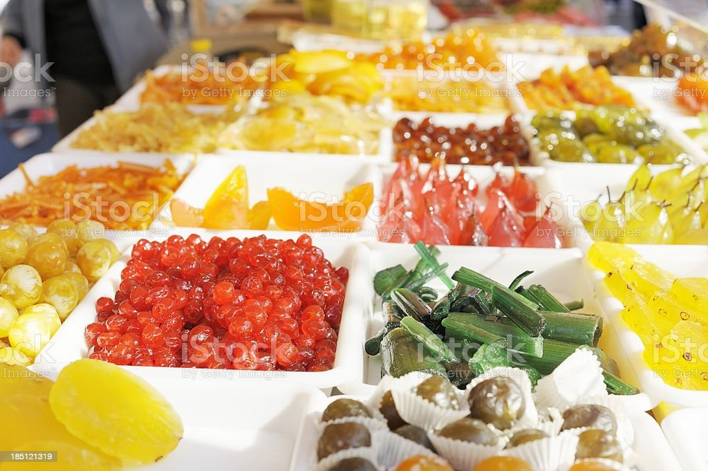 Candied Fruit on Market Stall in France royalty-free stock photo