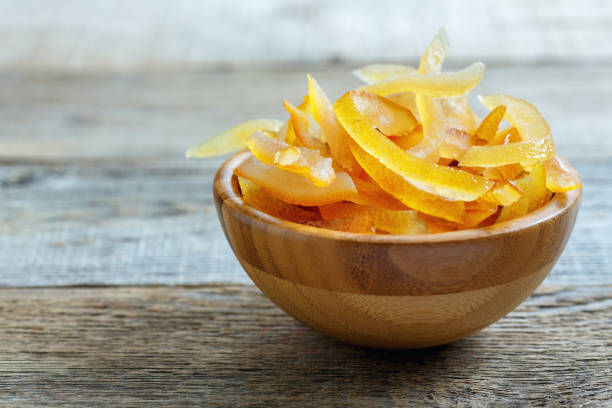 Candied orange and lemon peels. stock photo