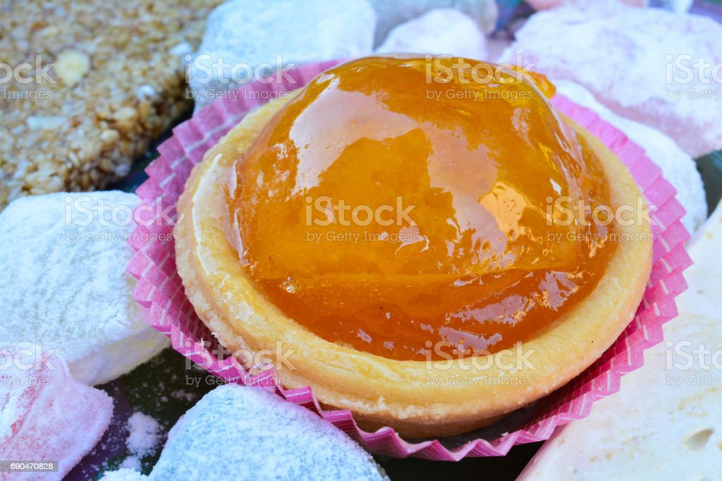 Candied orange close up stock photo