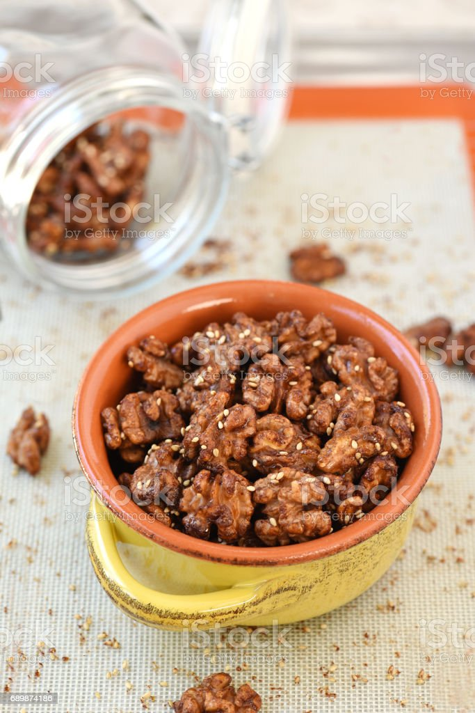 Candied Walnuts stock photo