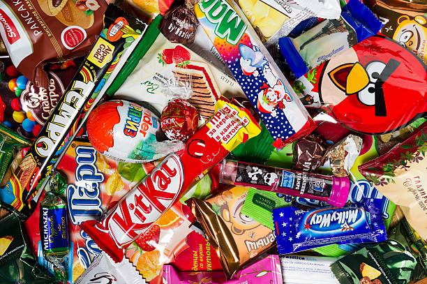 Candies, chocolates, sweets stock photo