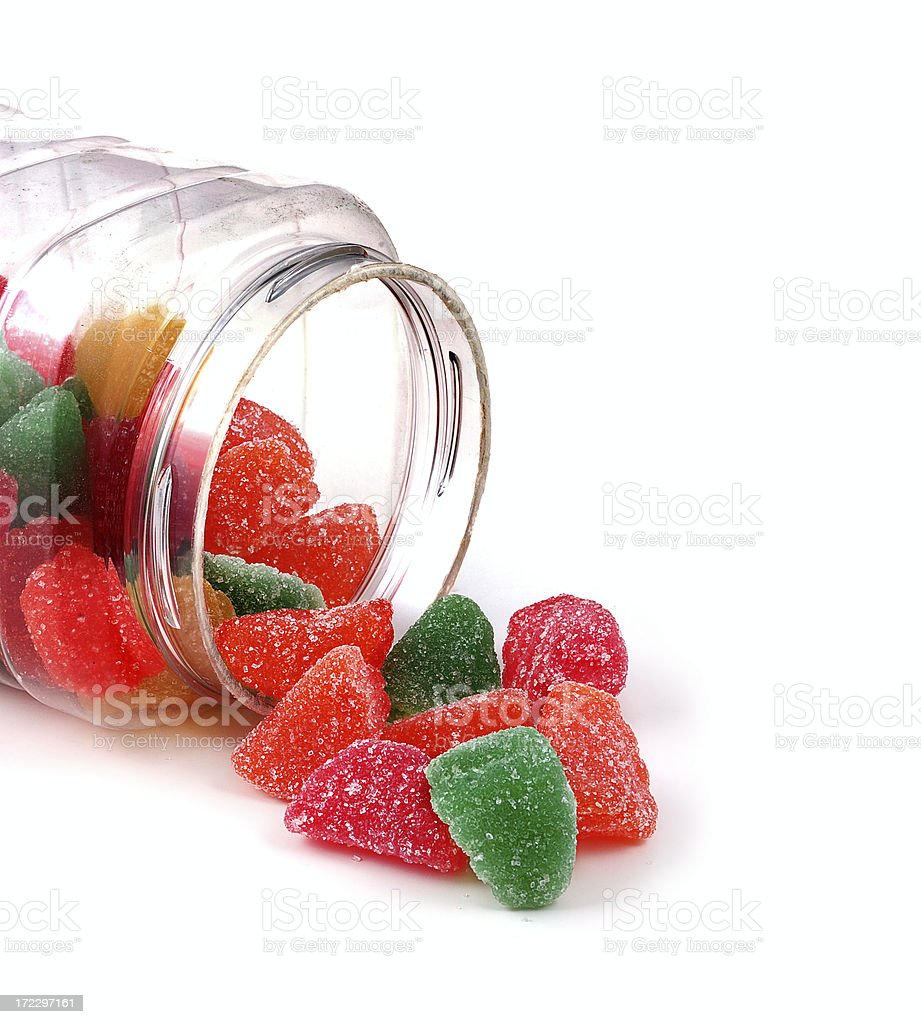 candies in a clear plastic jar royalty-free stock photo