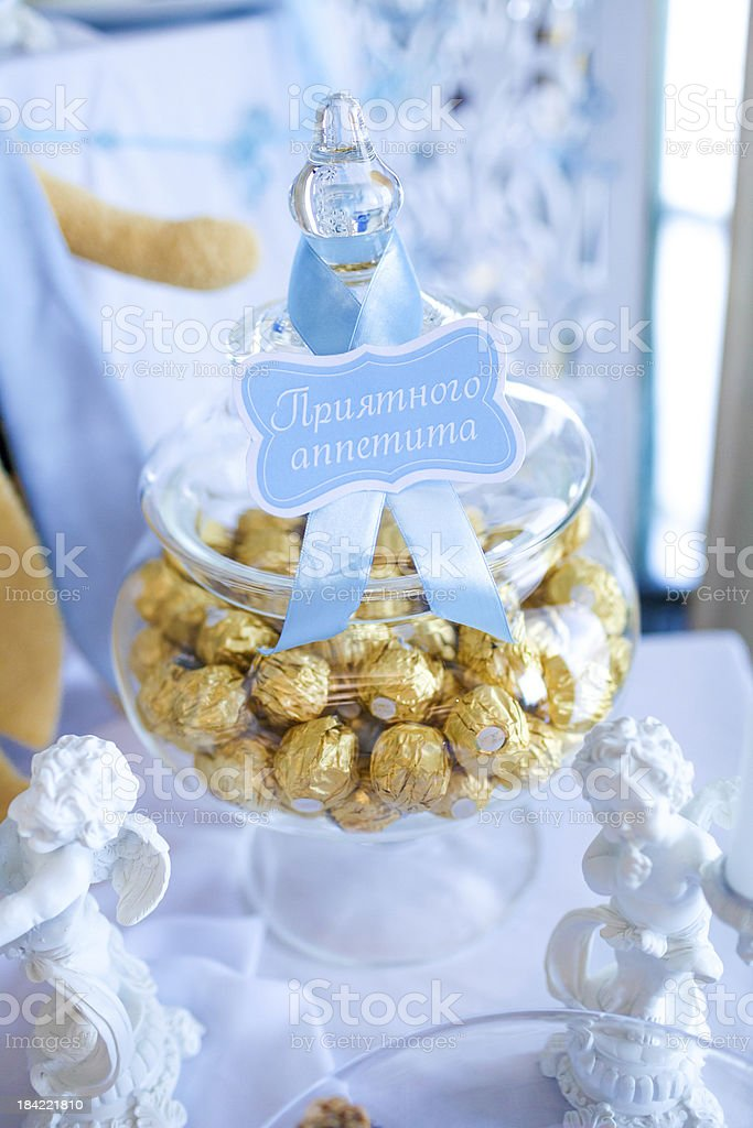 Candies in a glass jar stock photo